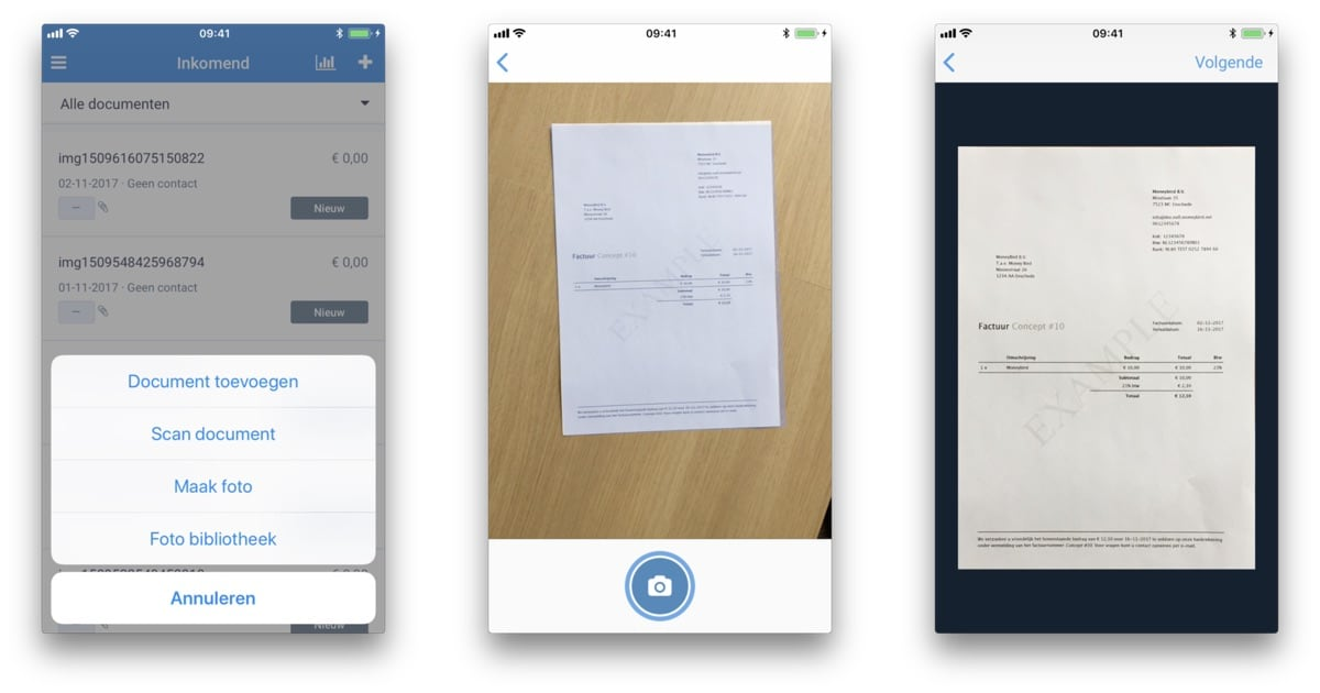 Scan documenten met de Moneybird iOS app