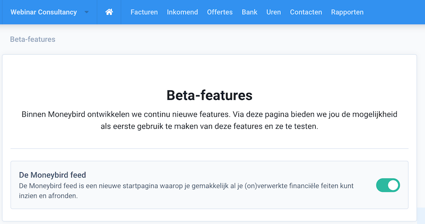Beta features in de instellingen