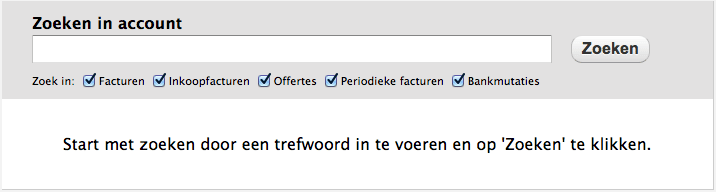 Facturen zoeken in de facturatie software
