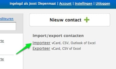 Importeer contact voor je factuur